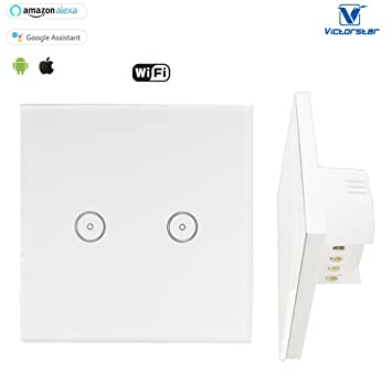 WiFi Wandschalter Alexa Touch - VICTOTSTAR 2 Gang WiFi Schalter ...