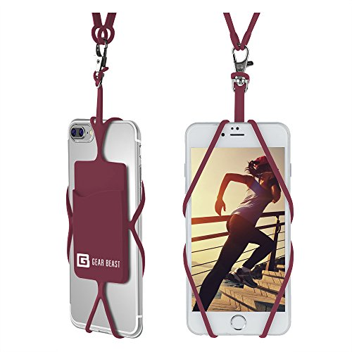 Price comparison product image Cell Phone Lanyard Strap, Gear Beast Universal Smartphone Case Cover Holder Lanyard Necklace Wrist Strap With ID Card Slot For iPhone 7 6S 6 Plus Galaxy S7 S6 Edge Note 5 4 3 and Other Mobile Phones