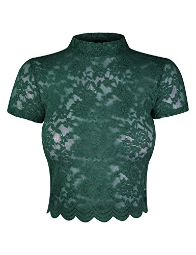 makeitmint Women's Floral Lace Mock Neck Short Sleeve Crop T-Shirt Top YIT0031-GREEN-LRG