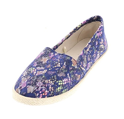 Ballet Striped Slippers (Gold Toe Women's Milla Canvas Alpargatas Espadrille Flat Casual Summer Style Comfy Slip On Walking Shoe Floral 8 US)