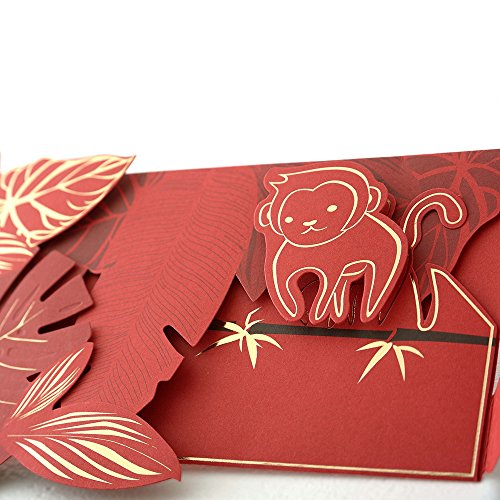 FUN II Creative Envelope for Birthday, Parties, Place Cards, Event Favors, Holiday Gifts, Gift Cards - Cheerful Monkey Envelope, Wall Décor, Invitation, Greeting, 7.3