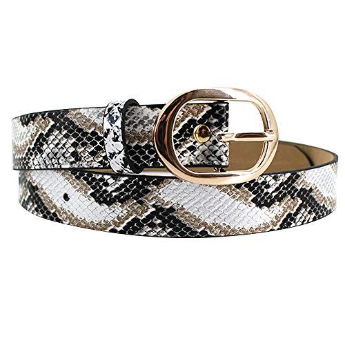 EDITHA Women's Snakeskin Grain Waistband PU Leather Waist Belt for Jeans/Dress White