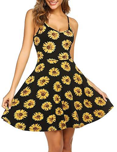 ACEVOG Women's Summer Dress Spaghetti Strap Skater Dress Beach Casual Sundress