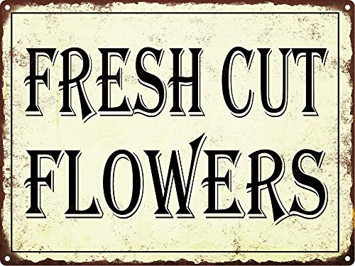Jesiceny Great Tin Sign Fresh Cut Flowers Vintage Look Rustic Retro Aluminum Metal Sign Wall Decoration 12x8 INCH from Jesiceny
