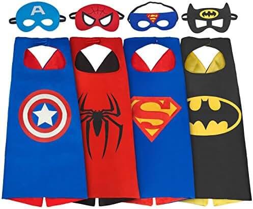 SPESS Comics Cartoon hero 4Pcs Capes and Masks costumes for kids