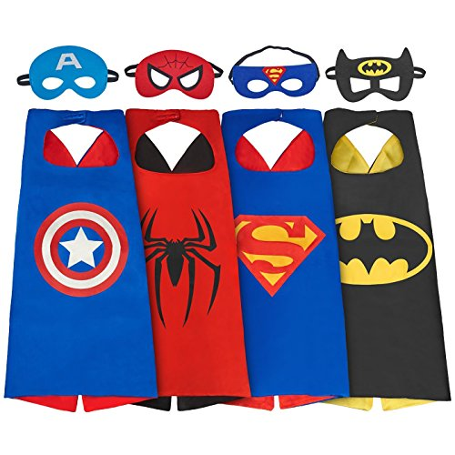 SPESS Comics Cartoon hero 4Pcs Capes and Masks costumes for kids (Girls Costumes)