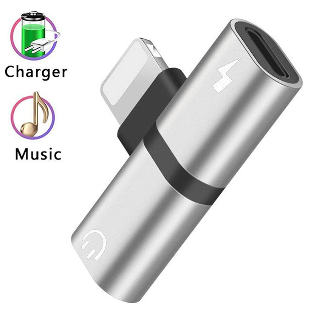 Black 2 in1 Connector Convertor Earphone Audio Cables Call Charge Audio Wire Control for iPhone Adapter Headphone Jack Splitter Adaptor Dongle for iPhone 6//7//8//X//6 Plus//7 Plus//8 Plus//XS//XS MAX//XR