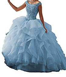 Women's Beaded Quinceanera Long Prom Dresses
