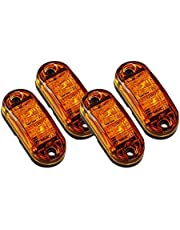 Pceewtyt 4X Amber LED 2.5inch 2 Diode Light Oval Clearance Trailer Truck Side Marker Lamp