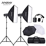 Andoer MD-300 600W Photo Studio Monolight Strobe Flash Light Softbox Lighting Kit with Light Stand, Softbox Unbrella, Flash Trigger, Carrying Bag for Video Shooting Location/ Portrait Photography