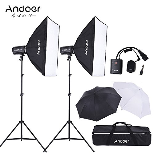 Photo Box Still Life Light - Andoer MD-300 600W Photo Studio Monolight Strobe Flash Light Softbox Lighting Kit with Light Stand, Softbox Unbrella, Flash Trigger, Carrying Bag for Video Shooting Location/Portrait Photography