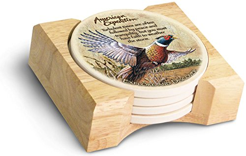 American Expedition Set of 4 Stone Coasters (Common Pheasant)
