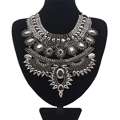 NABROJ Vintage Sagging Droplets Statement Necklace, Black Bib Necklace & Pendants Costume Jewelry for Wedding Prom 1pc-HL23 Black