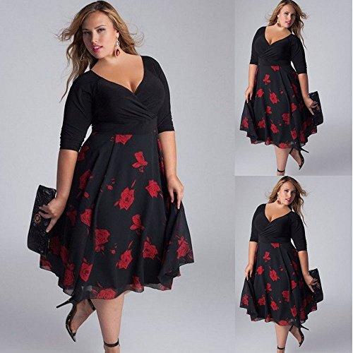 Strandkleid Plus Sommerkleid Damen Size Boho Partykleid Kleider Maxi Abendkleid Frauen Maxikleid V-ausschnitt paolian Floral Übergröße Schwarz
