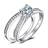JewelryPalace Wedding Rings Solitaire Engagement Rings For Women Anniversary Promise Ring Bridal Sets 925 Sterling Silver 1.3ct Cubic Zirconia Simulated Diamond Size 8