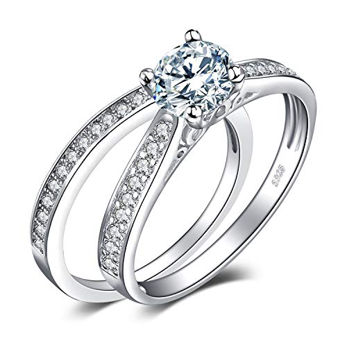 JewelryPalace Wedding Rings Solitaire Engagement Rings For Women Anniversary Promise Ring Bridal Sets 925 Sterling Silver 1.3ct Cubic Zirconia Simulated Diamond Size 5