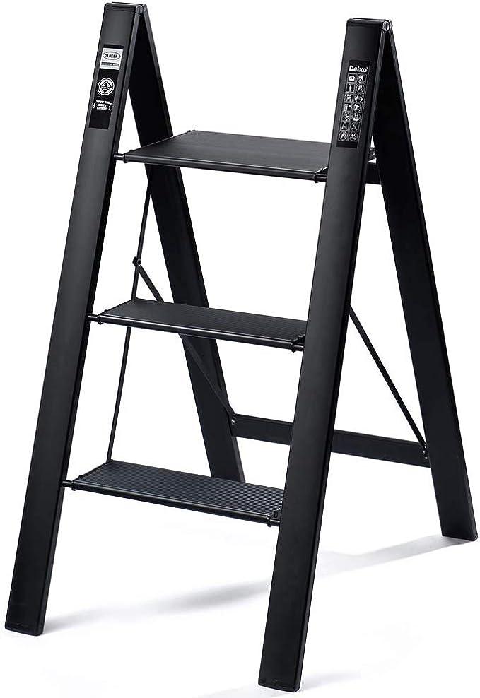 Rziioo 2 en 1 de Aluminio liviano Escalera de 3 peldaños Escalera de peldaño Invisible Elegante para fotografía, hogar y Pintura,Negro: Amazon.es: Deportes y aire libre