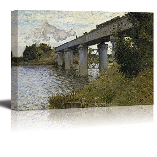 The Railroad bridge in Argenteuil by Claude Monet Print Famous Painting Reproduction