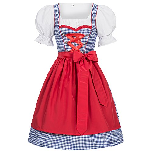 Gaudi-leathers Traditional Women's German Dirndl Dress 3 Pieces Checkered, Costumes for Bavarian Oktoberfest, Carnival or Halloween, blue with red apron 44 -