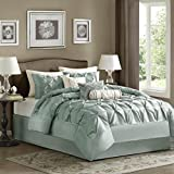 Madison Park Laurel 7 Piece Comforter Set, Cal King, Blue