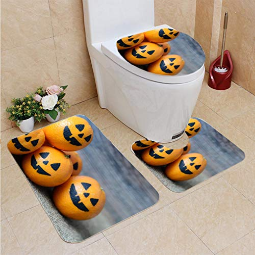 3 Sets of Bathroom Home, Bathroom Carpet + Contour pad + lid Toilet seat,Painted Scary Faces on a Holiday of Halloween on Orange, Flannel Carpet
