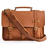 Marlondo Leather Businessman's Briefcase - Full Grain Leather, Solid Brass Zipper (Tobacco)