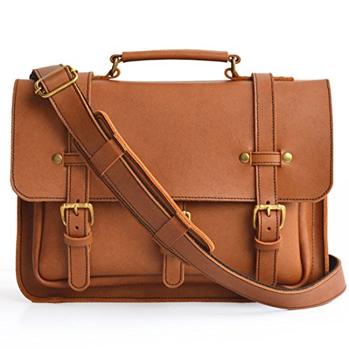 Marlondo Leather Businessman's Briefcase - Full Grain Leather, Solid Brass Zipper (Tobacco) by Marlondo Leather