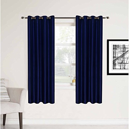 HollyHOME 2 Panels Room Contemporary Decorative Blackout Thermal Insulated Grommet Window Curtain for Living Room, Navy Blue, 52x63 Inch (Decorative Panels Window)