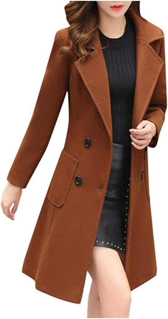 Doric Womens Winter Lapel Double Breasted Long Slim Fit Trench Coat Jacket Ladies Warm Wool Blend Outwear