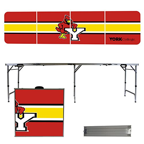 NCAA York College Cardinals Stripe Version Portable Folding Tailgate Table, 8' by Victory Tailgate