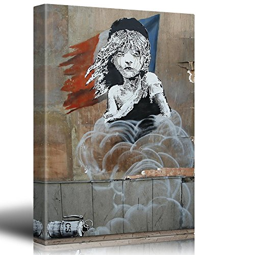 Print Les Miserables Banksy Street Art Graffiti Calais Refugee Tear Gas Political Statement French Flag