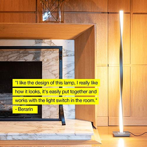 Brightech Helix LED Floor Lamp for Living Rooms - Get Compliments: Modern Standing Pole Light for Bedrooms & Offices - Bright & Dimmable - Contemporary 48 Inch Tall Lamp - Platinum Silver by Brightech (Image #2)