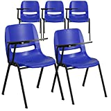 Flash Furniture 5 Pk. Blue Ergonomic Shell Chair with Right Handed Flip-Up Tablet Arm