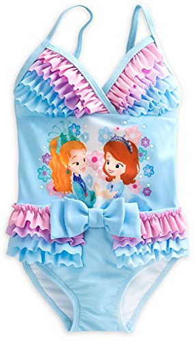 Disney Store Little Girls Sofia the First Glitter Accents Deluxe Swimsuit, Size 4