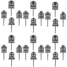 Halloween Party Tombstone Graveyard Cupcake Picks - 24 pcs