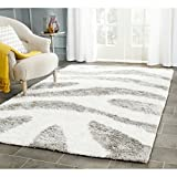 Safavieh Barcelona Shag Collection BSG321A Handmade Ivory and Silver Polyester Area Rug (3′ x 5′) For Sale