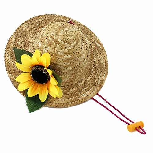 Sunflower Cat Costume (Beautiful 3D Sunflower Handcrafted Woven Straw Pet Hat Costume Cat Dog Hat Toy Hat Novelty Cosplay Farmer Hat w/ Adjustable Chin String)