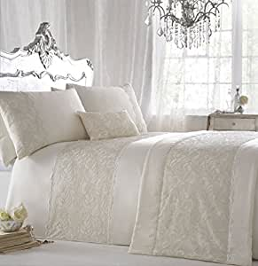 "ZIGGUO 3-PC Luxury Duvet Cover Set - Embroidered King Size 104 X 90"" with Pillowcase - Ivory Color"