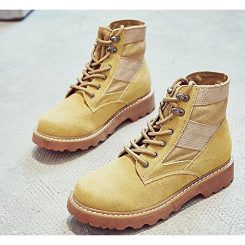 ZHZNVX HSXZ Zapatos de Mujer Cuero de Nubuck Primavera Otoño Confort Botas Botas de Combate Talón Plano Botines/Botines de Camello Casual Negro,Camel,US5.5/UE36/UK3.5/CN35 36 EU
