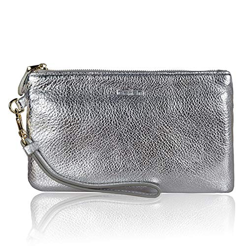 (Befen Women Genuine Leather Evening Wristlet Chic Designer Clutch Wallet Smartphone Wristlet Purse - Metallic Silver)
