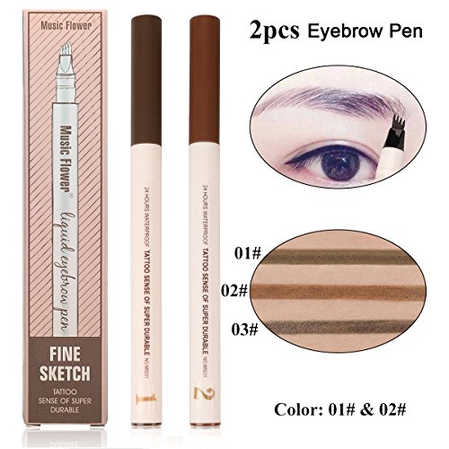 Eyebrow Pen - 2 Colors Chestnut and Brown Microblading Eyebrow Pen Smudge-Proof Liquid Tattoo Pen 4 Tips Long-lasting Brown Eyebrow Pen for Eyes Makeup