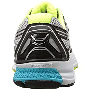Saucony Women's Guide 9 Running Shoe, Grey/Blue/Citron, 8 N US