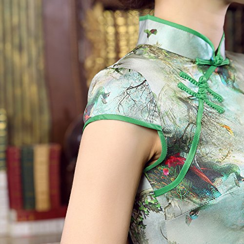 Kurzärmelige Damen für ACVIP Grün Blume Qipao Traditional Cheongsam Hochzeit Muster pnCxwqZxEP