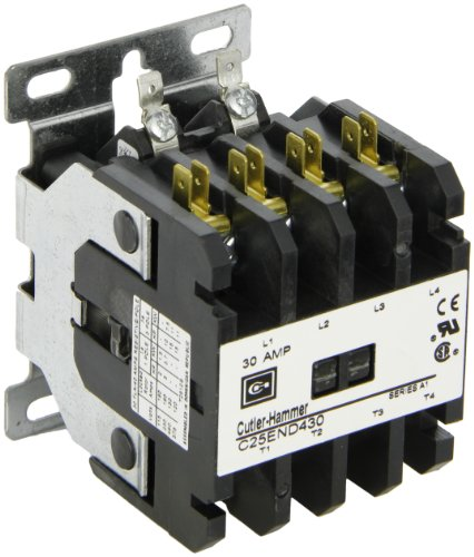 Pole Coil Single 480vac Contactor (Eaton C25END430B Definite Purpose Contactor, 50mm, 4 Poles, Screw/Pressure Plate, Quick Connect Side By Side Terminals, 30A Current Rating, 2 Max HP Single Phase at 115V, 10 Max HP Three Phase at 230V, 15 Max HP Three Phase at 480V, 208-240VAC Coil Voltage)