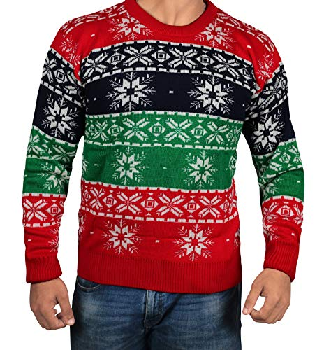 Snowflakes Graphic Christmas Sweater - Adult Red Snowfall Mens Sweater (S)