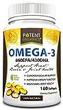 Potent Organics (Burpless) Omega-3 Fish Oil. Optimized EPA 860mg/DHA 430mg.180 Softgel Pills Infused With Lemon Oil.