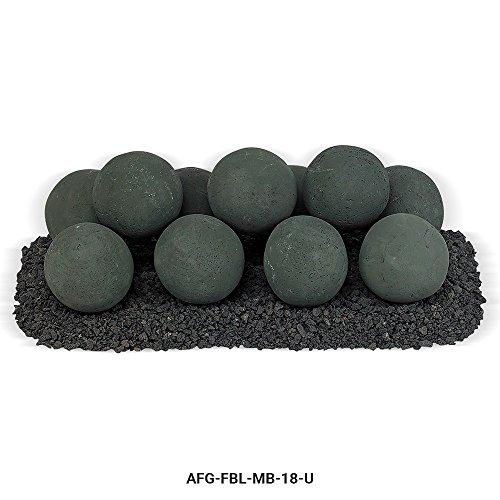 American Fireglass Uniform Ceramic Lite Stone Fire Pit Balls (AFG-FBL-MB-18-U), Set of 11, Matte Black (Fire Pit Sphere)