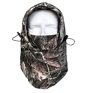 Balaclava Outdoor Sports Mask, Windproof Hunting Face Mask, Fleece Hood Balaclava Mask, Face Neck Warmer for Outdoor Activities in Cold Weather Camo Green