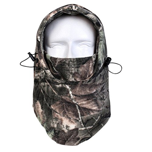 Balaclava Outdoor Sports Mask, Windproof Hunting Face Mask, Fleece Hood Balaclava Mask, Face Neck Warmer for Outdoor Activities in Cold Weather Camo Green (Cold Weather Neck Fleece)