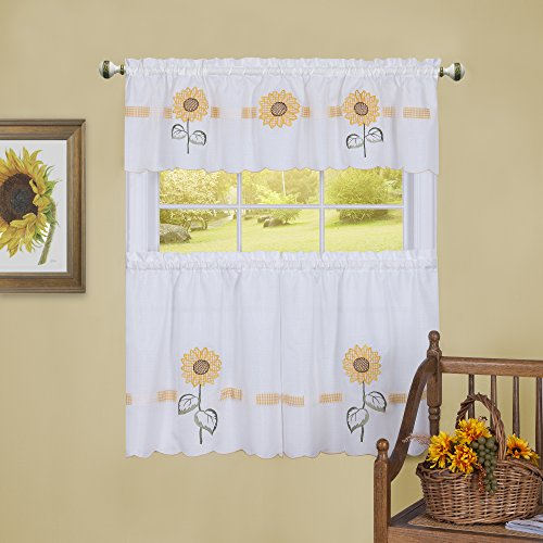 Achim Home Furnishings Sun Blossoms Embellished Tier and Valance Window Curtain Set, 56